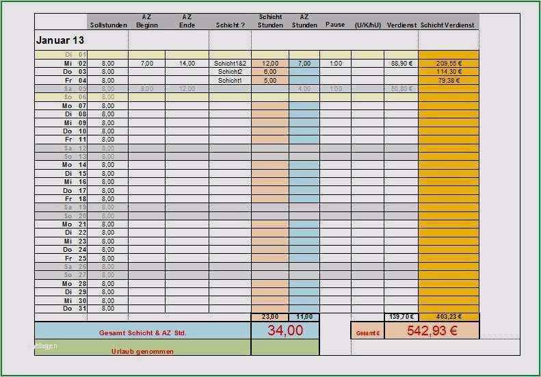 Arbeitszeitnachweis Uberstundenrechner Excel