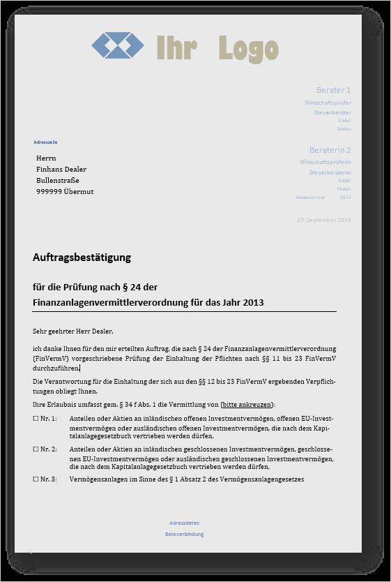 muster pruefungsbericht fuer pruefung von finanzanlagenvermittlern § 34f gewo § 24 finvermv