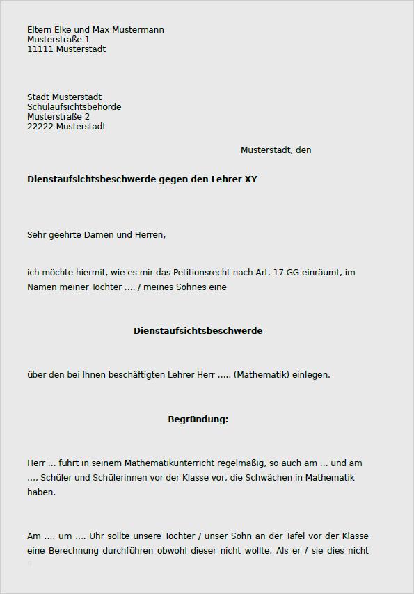 Dienstaufsichtsbeschwerde Beamte Muster Zum Download 1