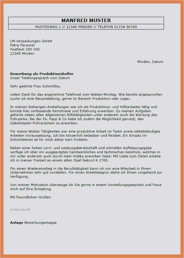 Frisch Bewerbungsschreiben Produktionshelfer 5