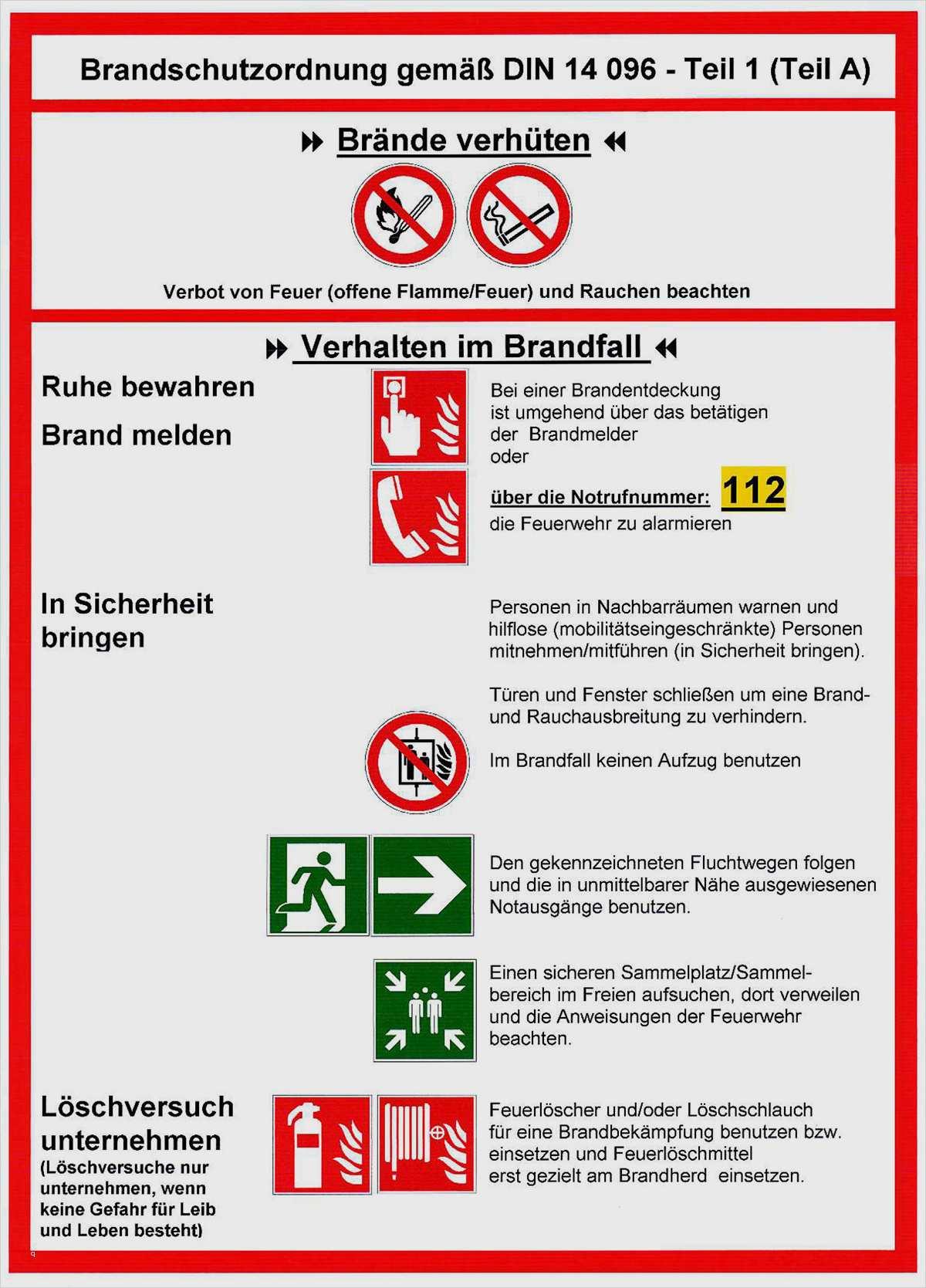 Brandschutzordnung Teil A Vorlage 14 Elegant