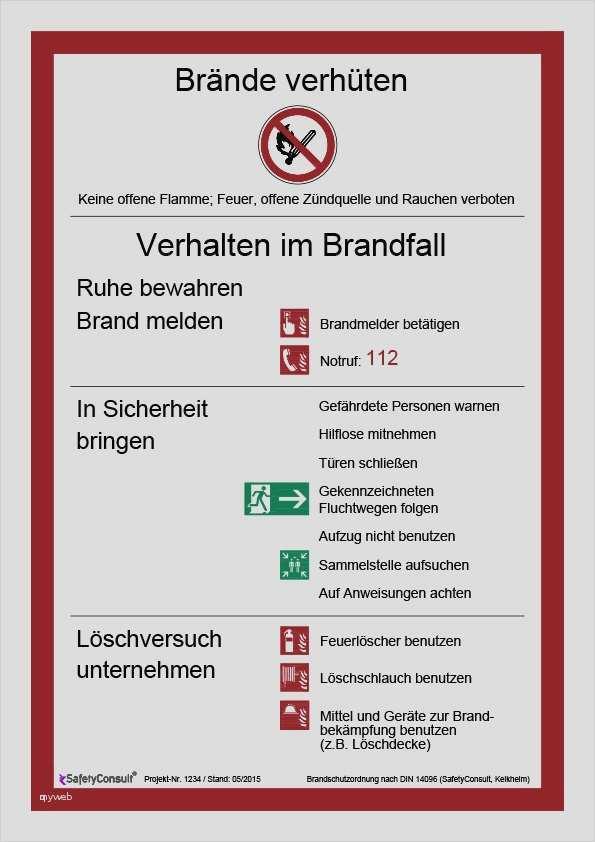 Brandschutzordnung Vorlage Word Süß Brandschutzordnung Teil C Vorlage Ausgezeichnet