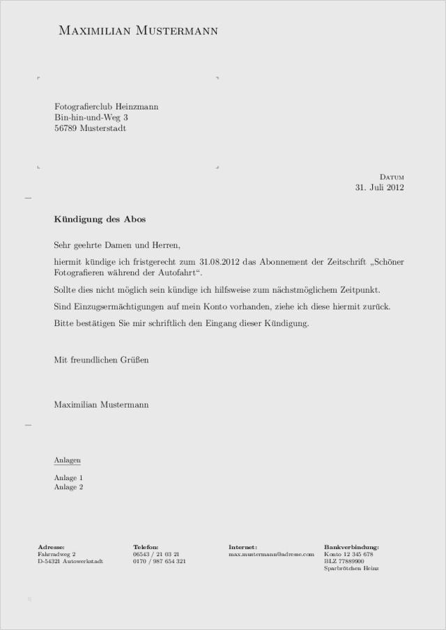 Gut Brief Schreiben Vorlage Nobel Ebendiese Können