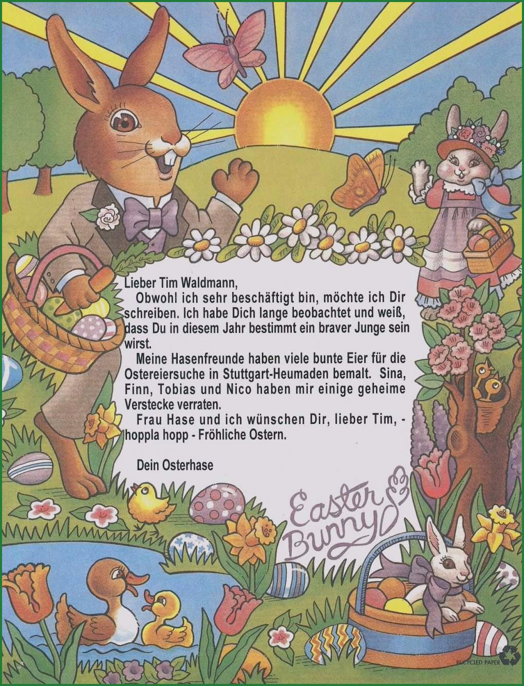 Vorlage Brief An Den Osterhasen Osterhase Brief Briefpapier 2