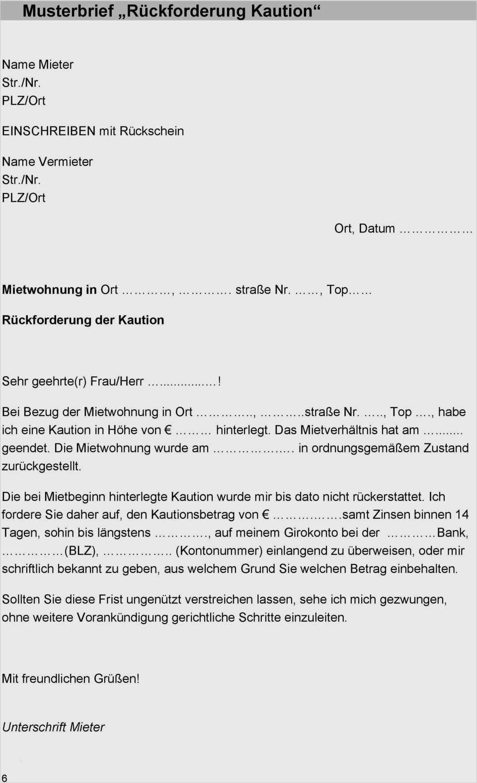Musterbrief Eigentumerwechsel Mietobjekt 6