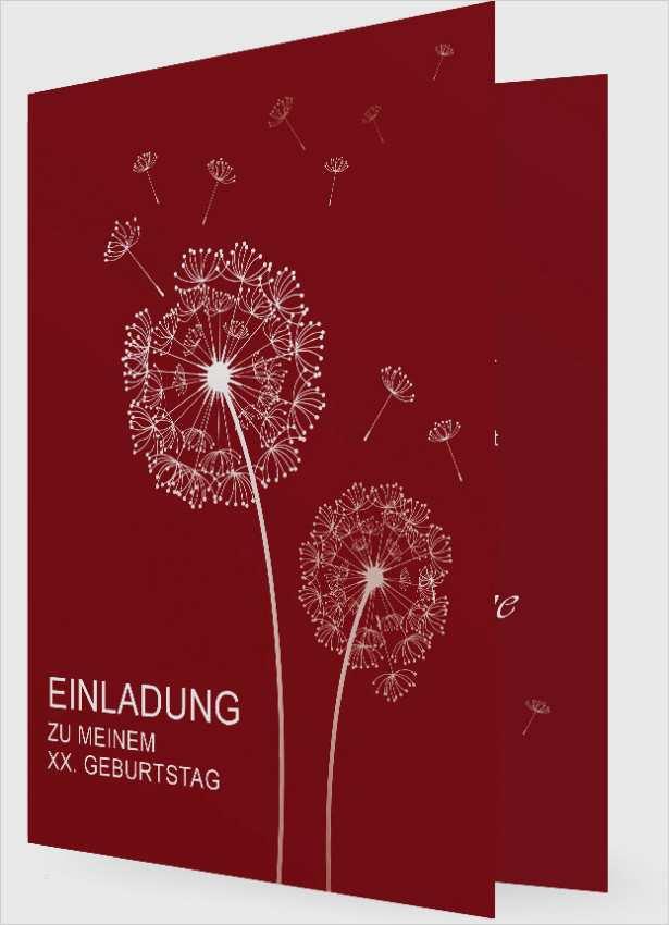 Geburtstag Vorlage Einladung Pusteblume rot 1038