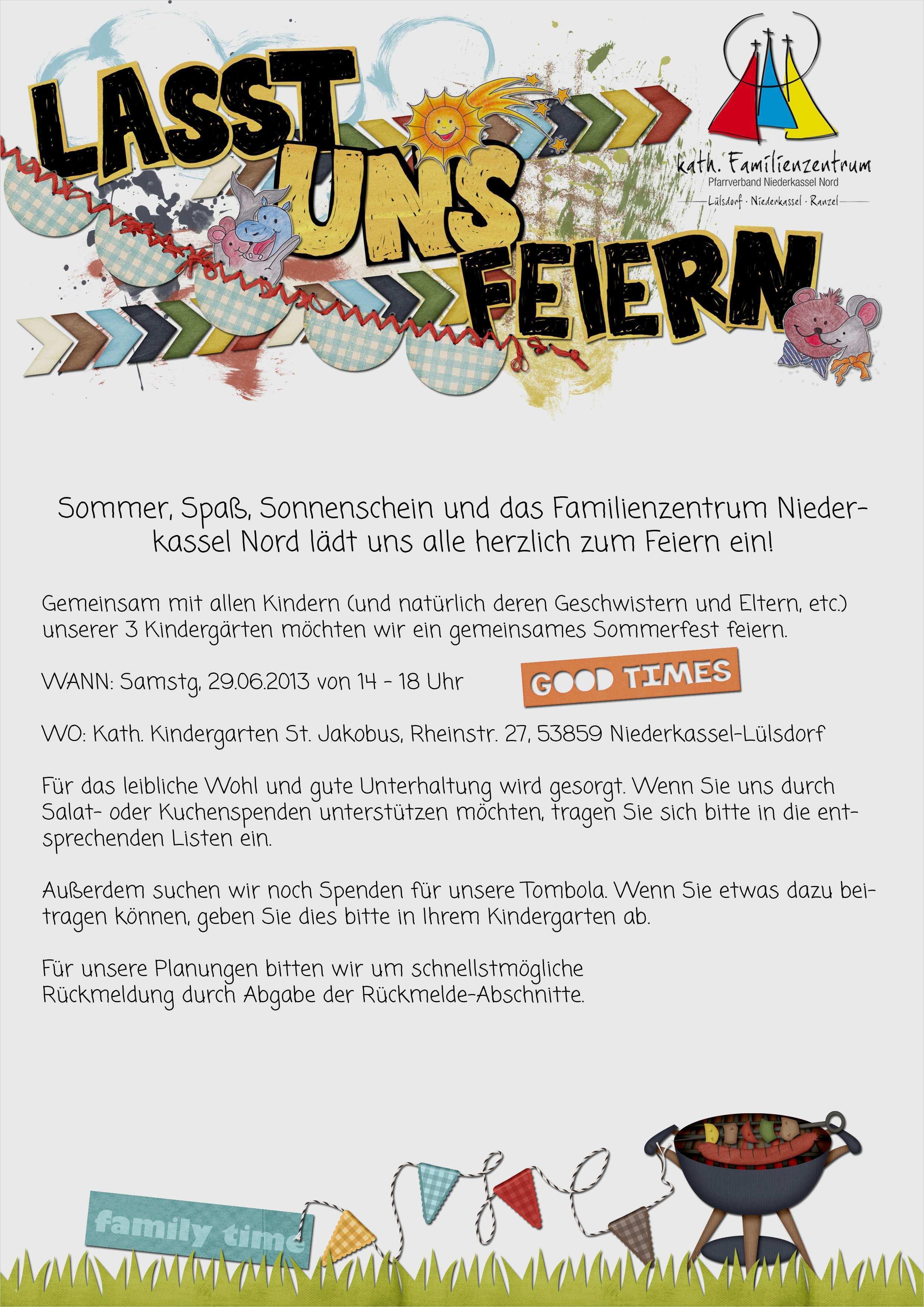 elternbrief kindergarten vorlage projekt süß sommerfest