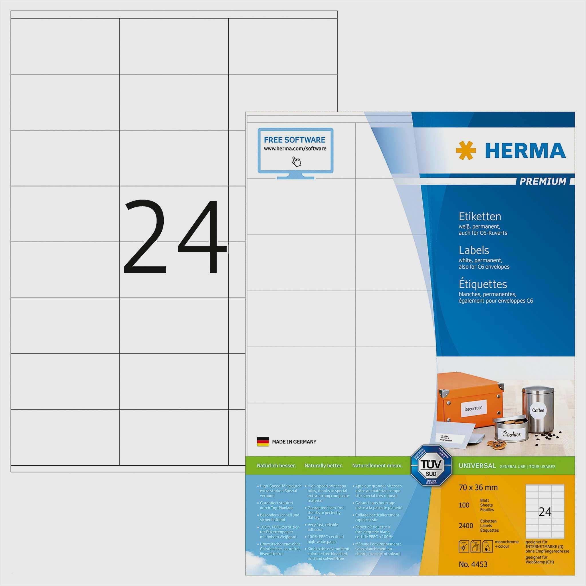 Etiketten Premium A4 Herma 4453 70x36 Mm 2400 St 12