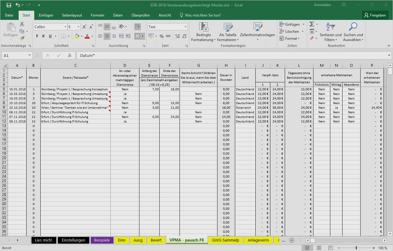 Einfuhrung Excel Vorlage Einnahmenuberschussrechnung