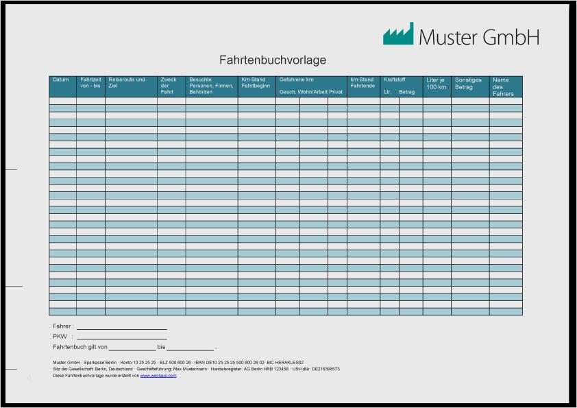 Fahrtenbuch Vorlage Kostenloses Excel Muster Brixxbox 12