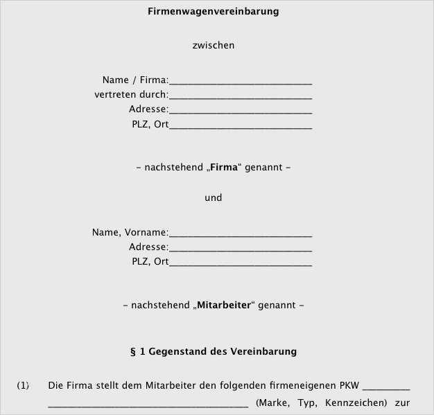 18 Neu Firmenwagen Vereinbarung Vorlage Sie 3