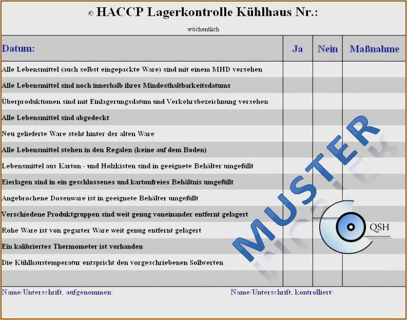 Haccp Checklisten Fur Kuchen Haccp Excel 14