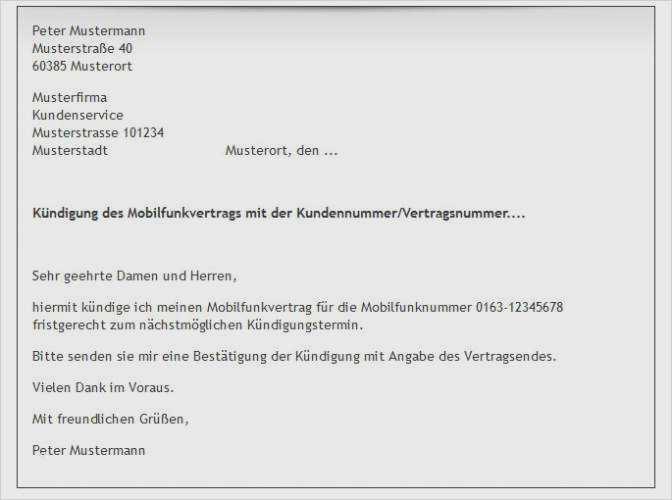 Kündigung Handyvertrag Per Email