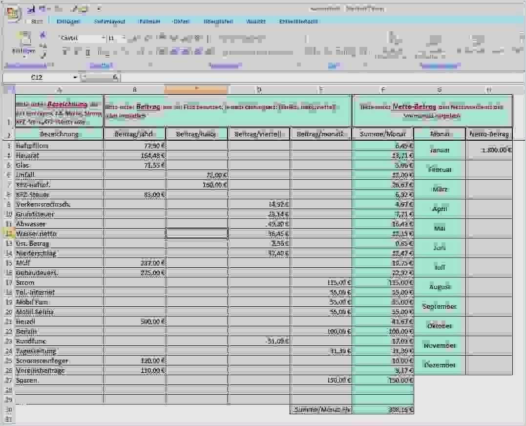 Haushaltsbuch Excel Vorlage Kostenlos 2018 Cool 10