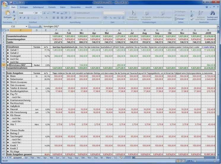 Vorlage Haushaltsbuch Haushaltsbuch Excel 15
