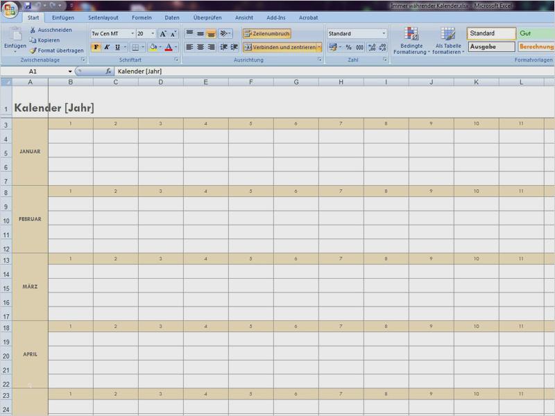 Jahresplanung Vorlage Excel Cool Kalender   dillyhearts.com