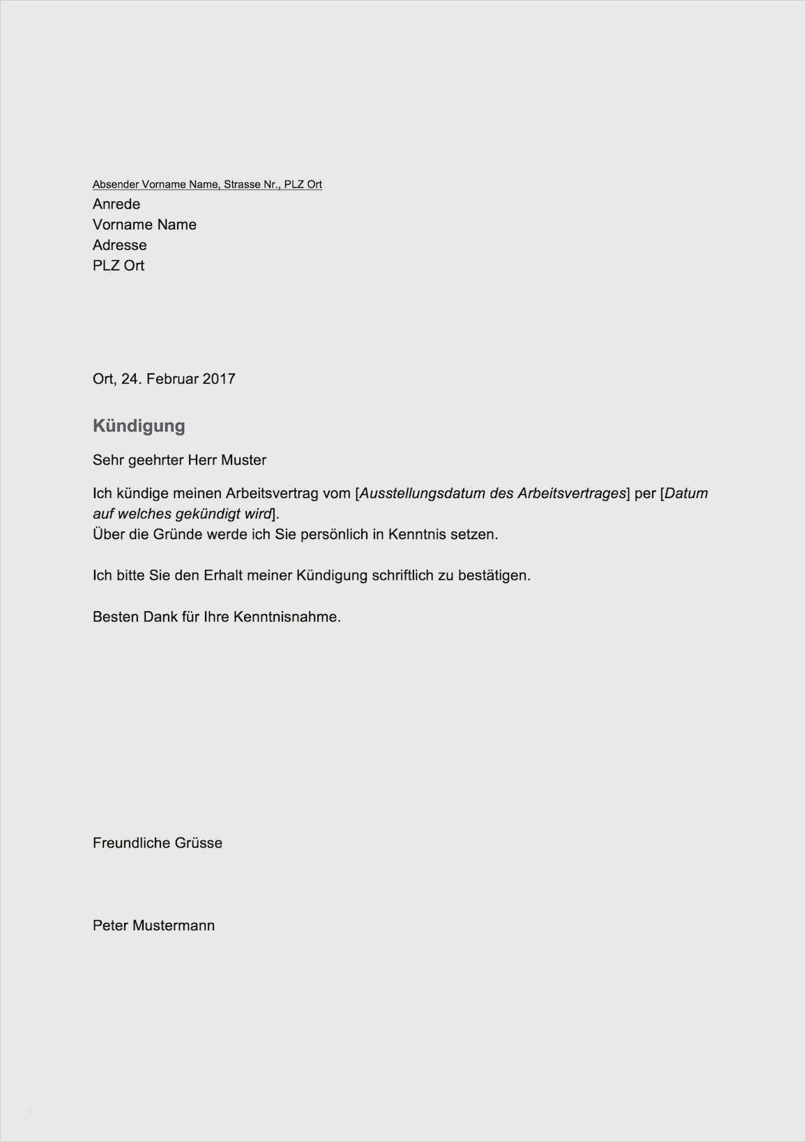 Interessant Kundigung Vorlage Arbeitsvertrag 9