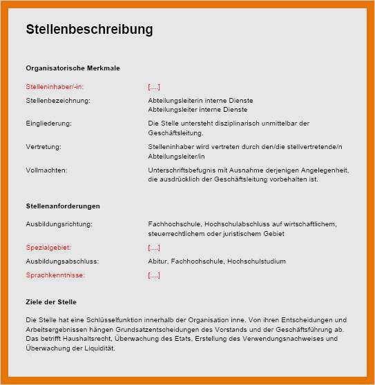 Stellenbeschreibung Verwaltungsangestellte