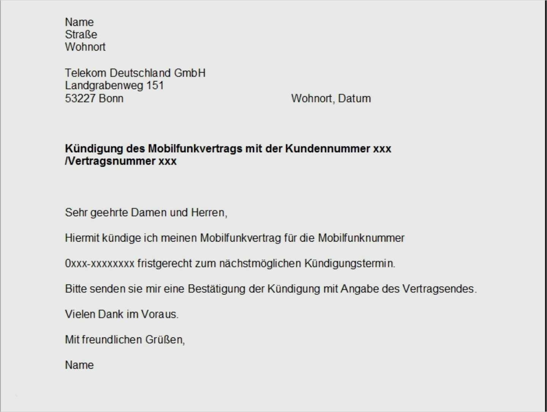 T Mobile Kundigung Vorlage Osterreich Kundigung