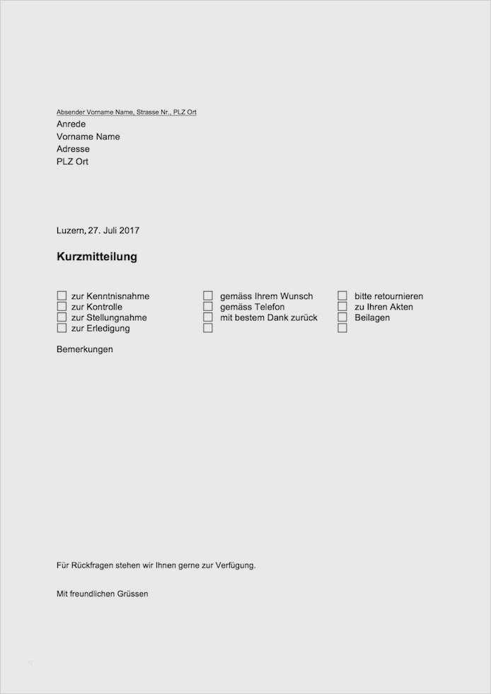 Kurzbrief Vorlage Zum Sofortigen Download