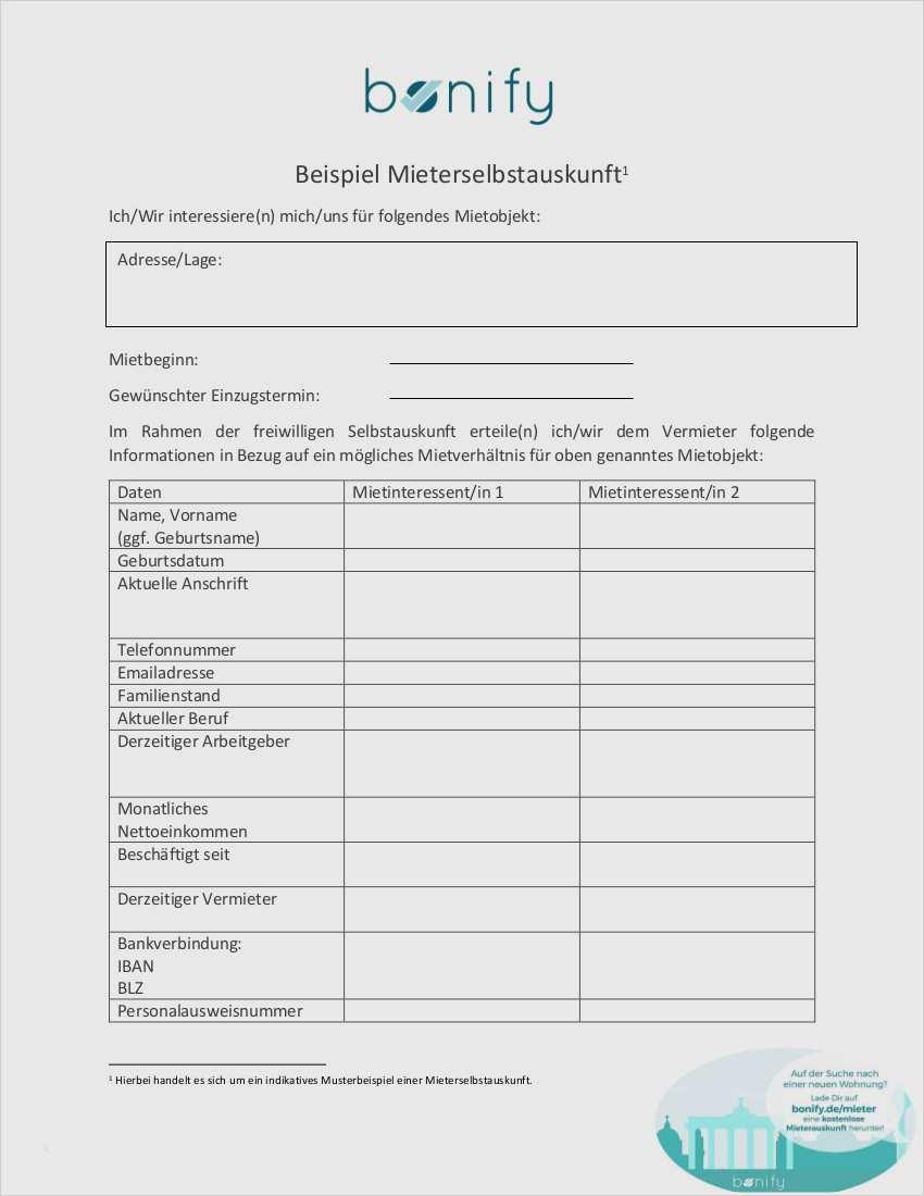Fein Mieterselbstauskunft Vorlage 2019 Vorlagen 5