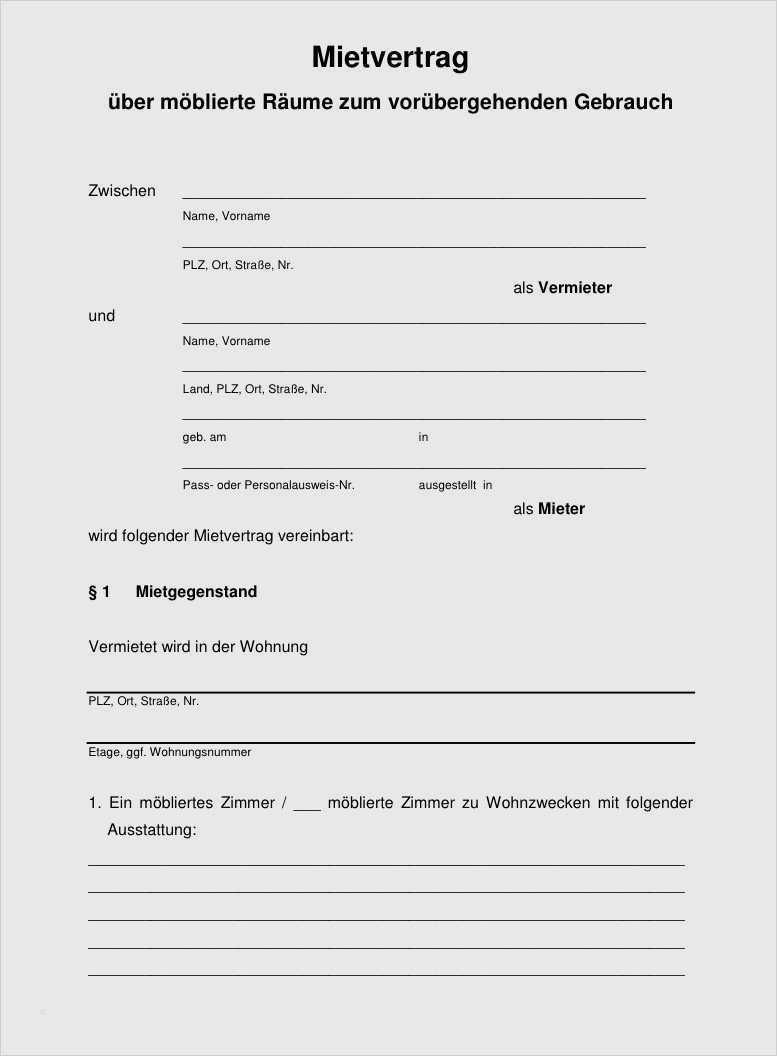 Vorlage Mietvertrag Fur Garage Download