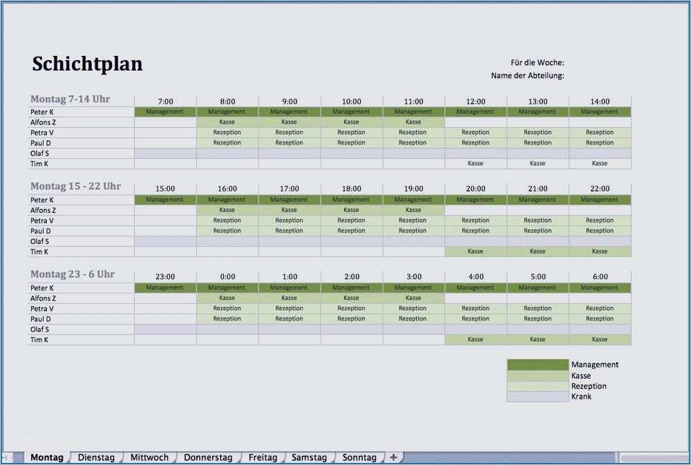 Dienstplan Als Excel Vorlage 11
