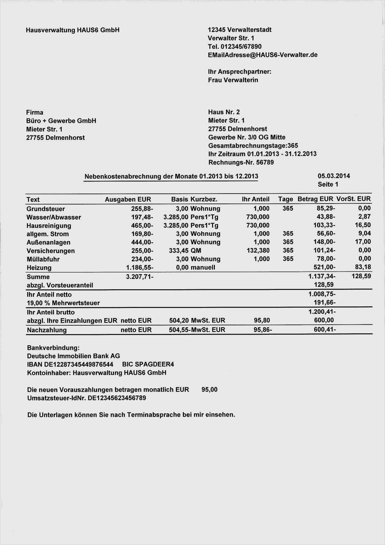 Kostenlose Excel Vorlage Betriebskostenabrechnung