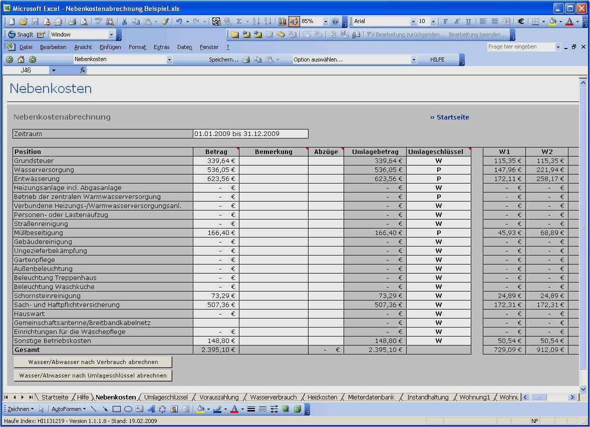 Nebenkostenabrechnung Einer Eigentumswohnung In Excel 4