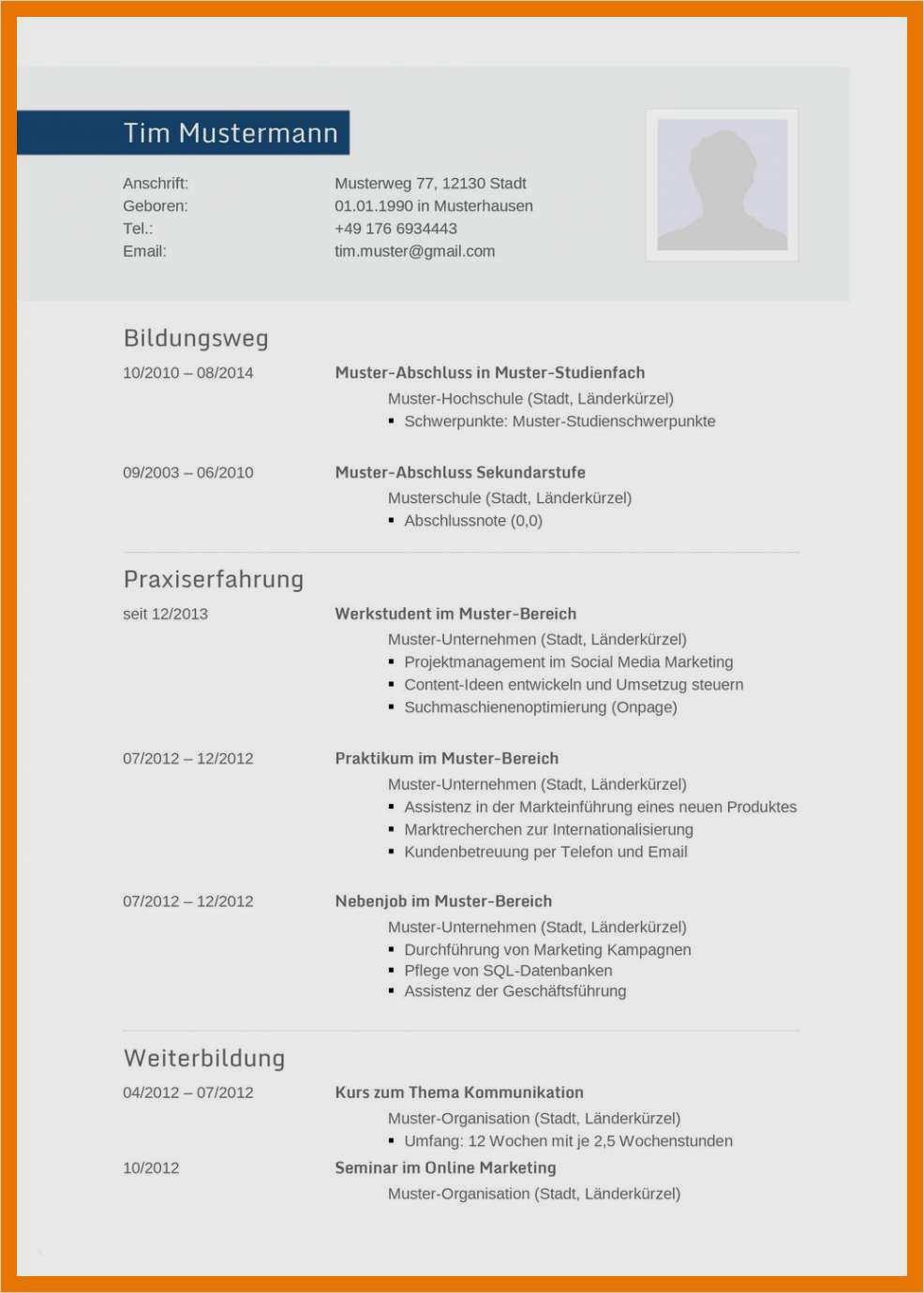 18 lebenslauf pdf vorlage