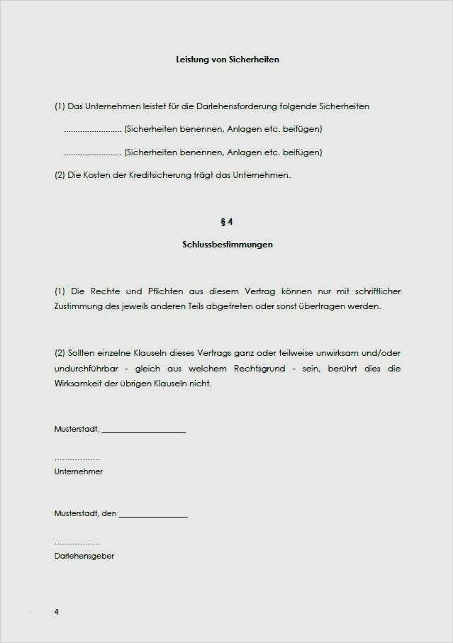 Muster Darlehensvertrag Mit Gewinnanteilsvereinbarung