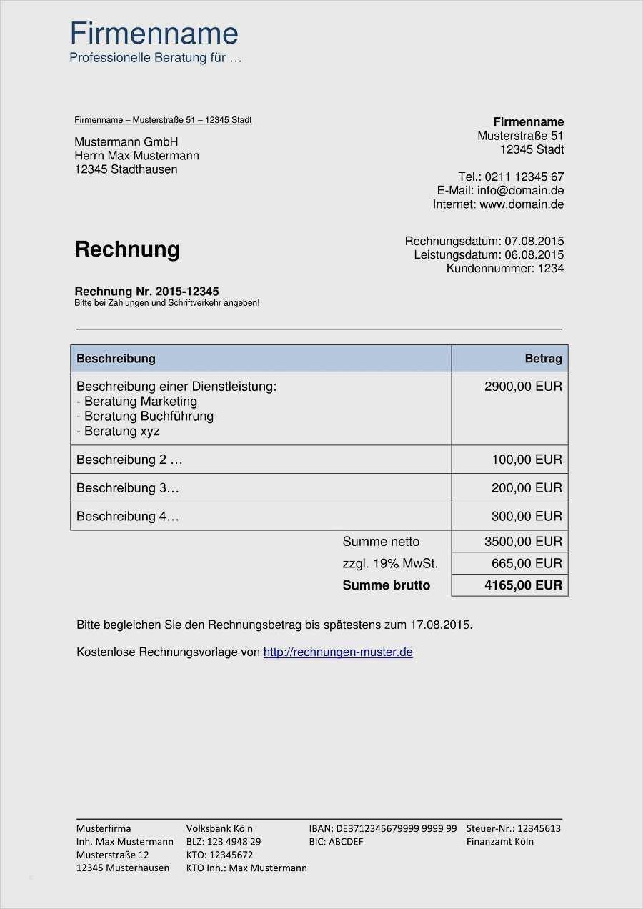 Rechnung Erstellen Kostenlos