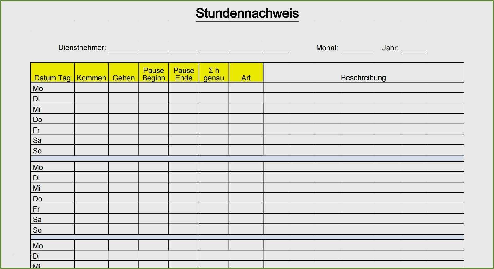 Zeiterfassung Mit Excel 8 Kostenlose Stundenzettel 14