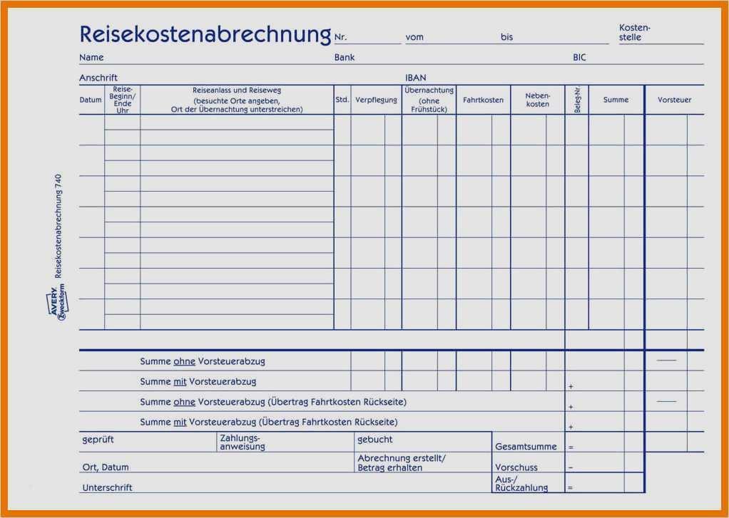 Reisekostenabrechnung 2019 formular kostenlos pdf