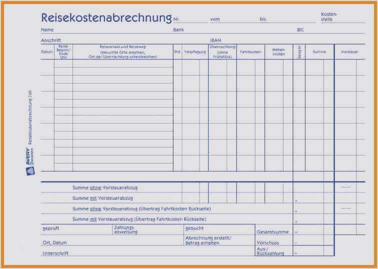 Reisekostenabrechnung Excel Vorlage Fur Buchhaltung