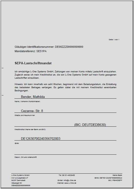 Sepa Mandatsvertrag Sepa Mandat Vorlage Angaben 5