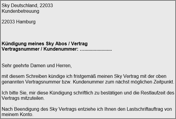 Kündigungsschreiben Sky