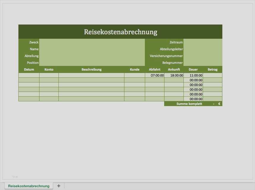 Reisekostenabrechnung Excel Vorlage 2021