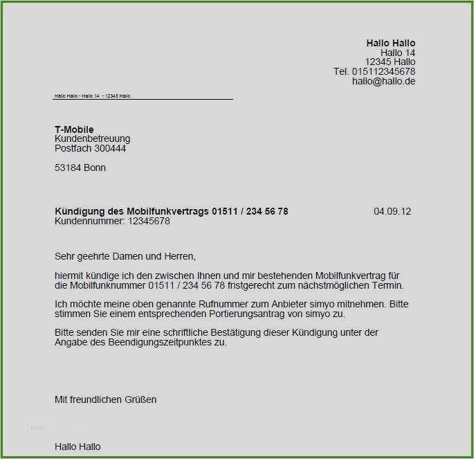 Kundigung Vertrag Telekom Vorlage 17 Grossartig 3