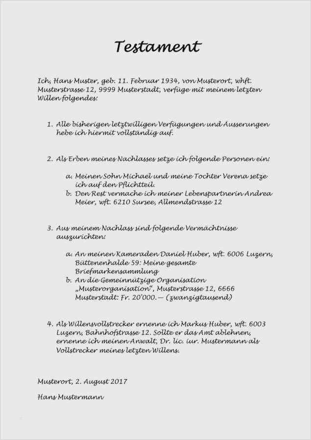 Testament Vorlage Kinderbetreuung Neu Testament Vorlage Und Muster Schweiz Kostenlos Herunterladen