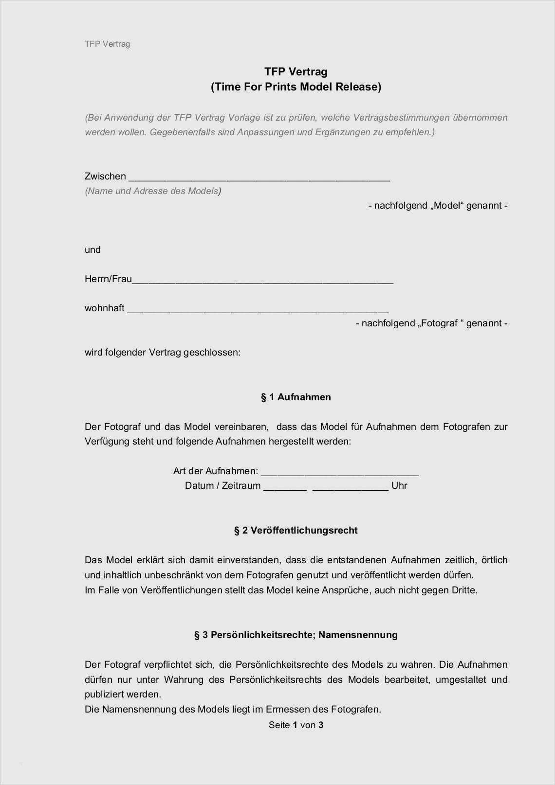 Model Release Vereinbarung Muster Vorlage Word Pdf 1