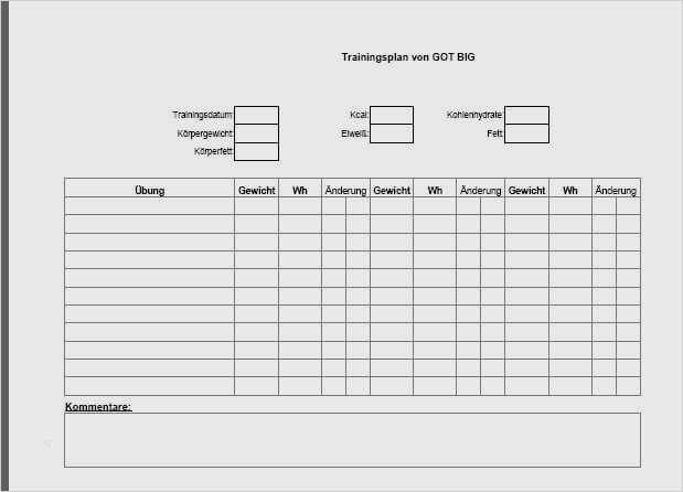 Trainingsplan Vorlage Krafttraining It Turnaround 6 15