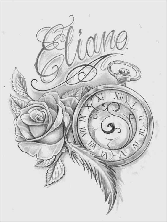 Uhr tattoovorlage Rosen Tattoo