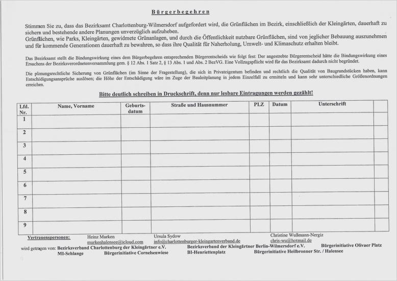 Unterschriftensammlung Mieter Vorlage 18