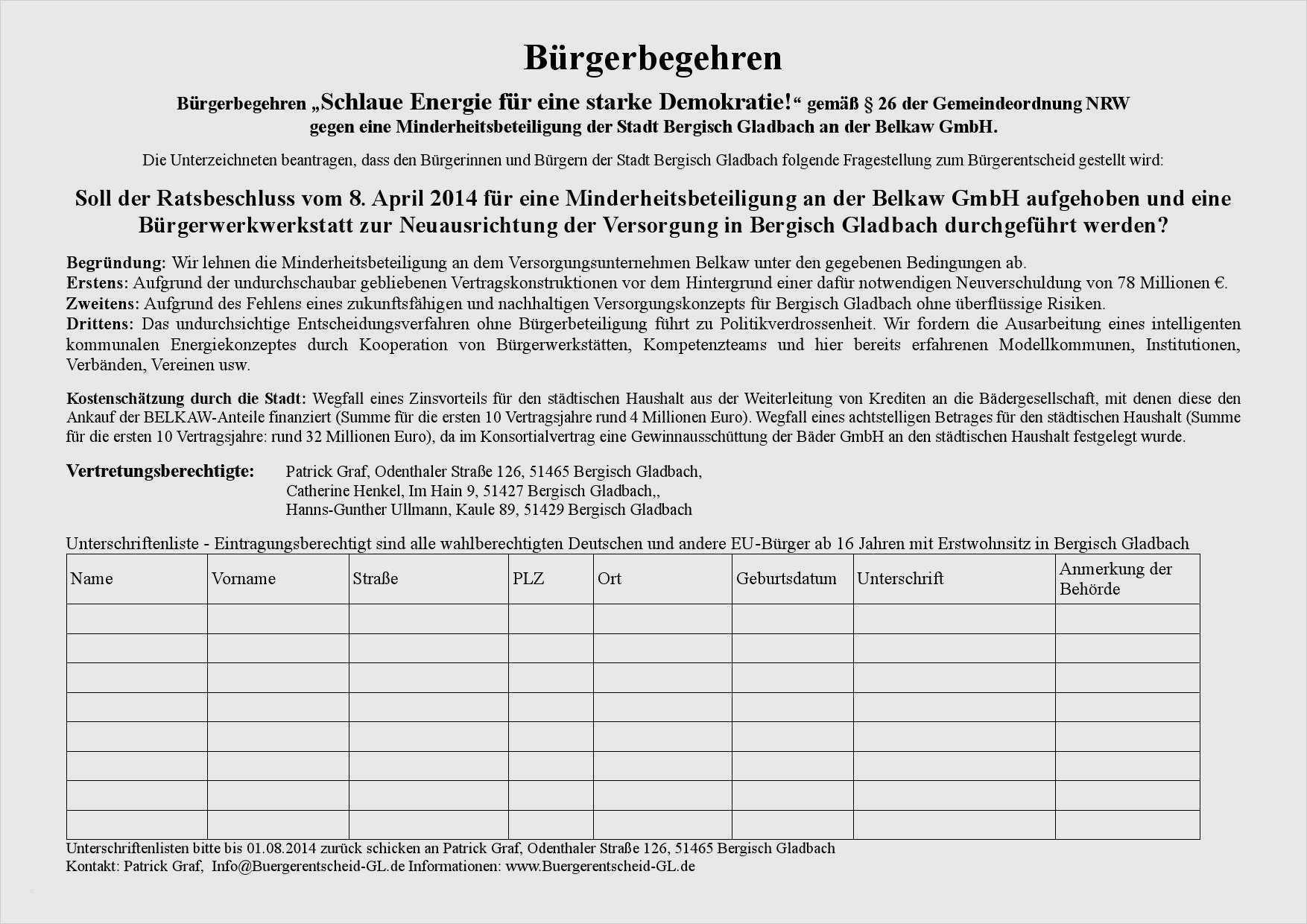 Unterschriftensammlung Mieter Vorlage 18 9