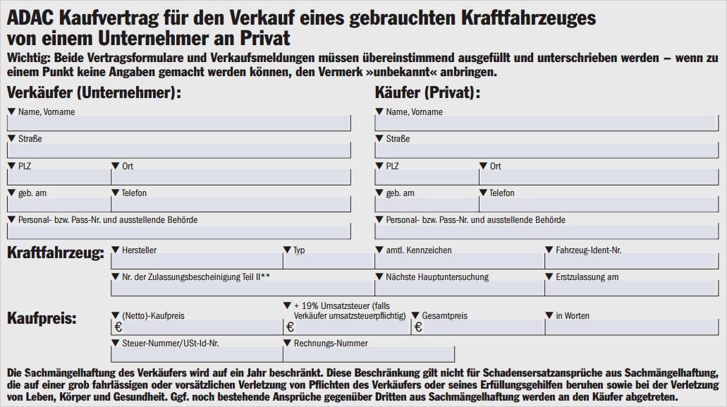 Vertrag Autoverkauf Privat Ohne Gewährleistung Vorlage ...