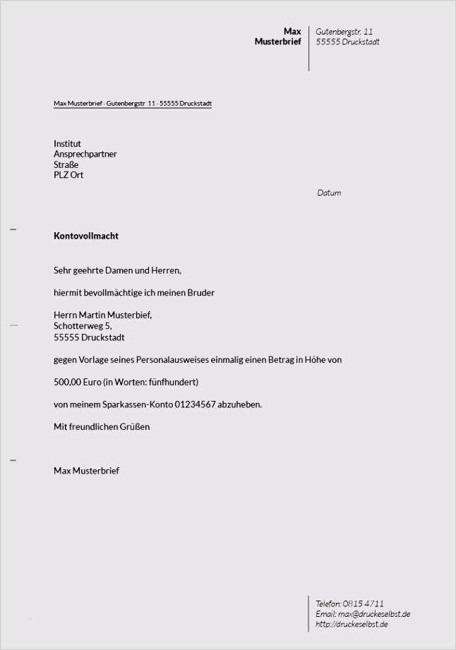 Einmalige Bankvollmacht At Musterbrief Download 3