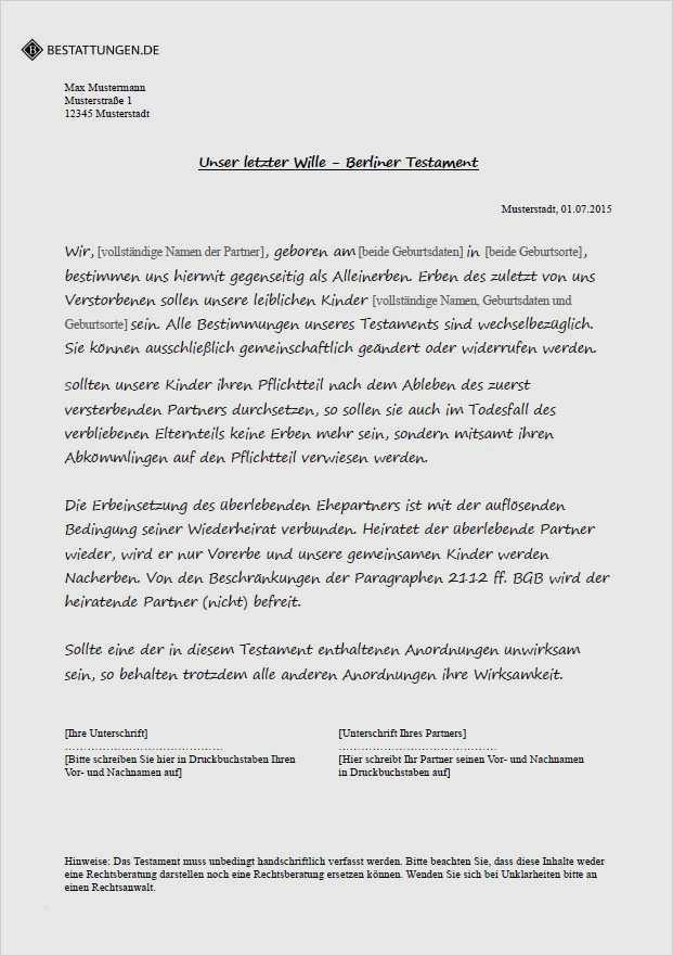 Berliner Testament Trennungslosung Muster Zum Download