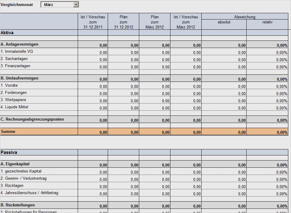 Bilanzaufstellung Excel Vorlage 14