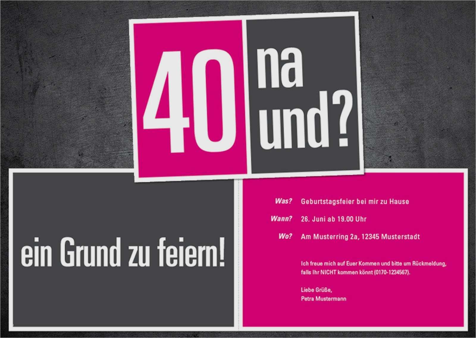 Einladungskarten 40 Geburtstag Vorlagen Einladung